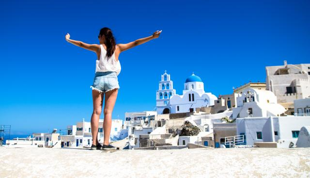 Happy teen during travel teen summer camps to Greece