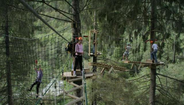 Teenage travelers climb ropes course during summer youth travel program in Scandinavia
