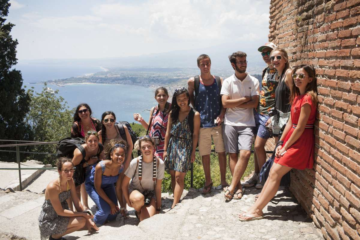 Teenage travelers explore Sicily during summer youth travel program in Italy