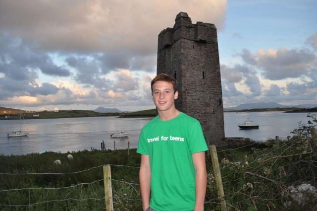 Teenage traveler explores Irish castle on summer youth adventure travel program in Ireland