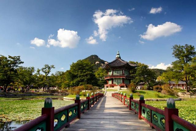 View of Gyeongbukgong Palace in Seoul seen on summer youth travel program