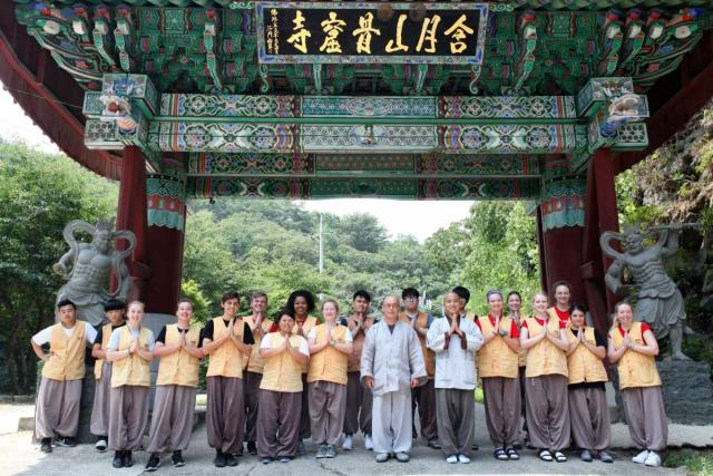 Teenage travelers visit Golgulsa Temple for overnight stay with monks during summer youth travel program