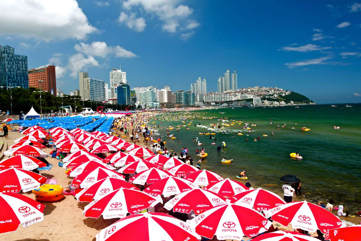 View of Haeundae Beach seen by teen travelers on summer youth travel program in Busan