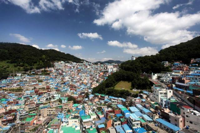 View of Gamcheon Culture Village seen on summer youth travel program in Busan