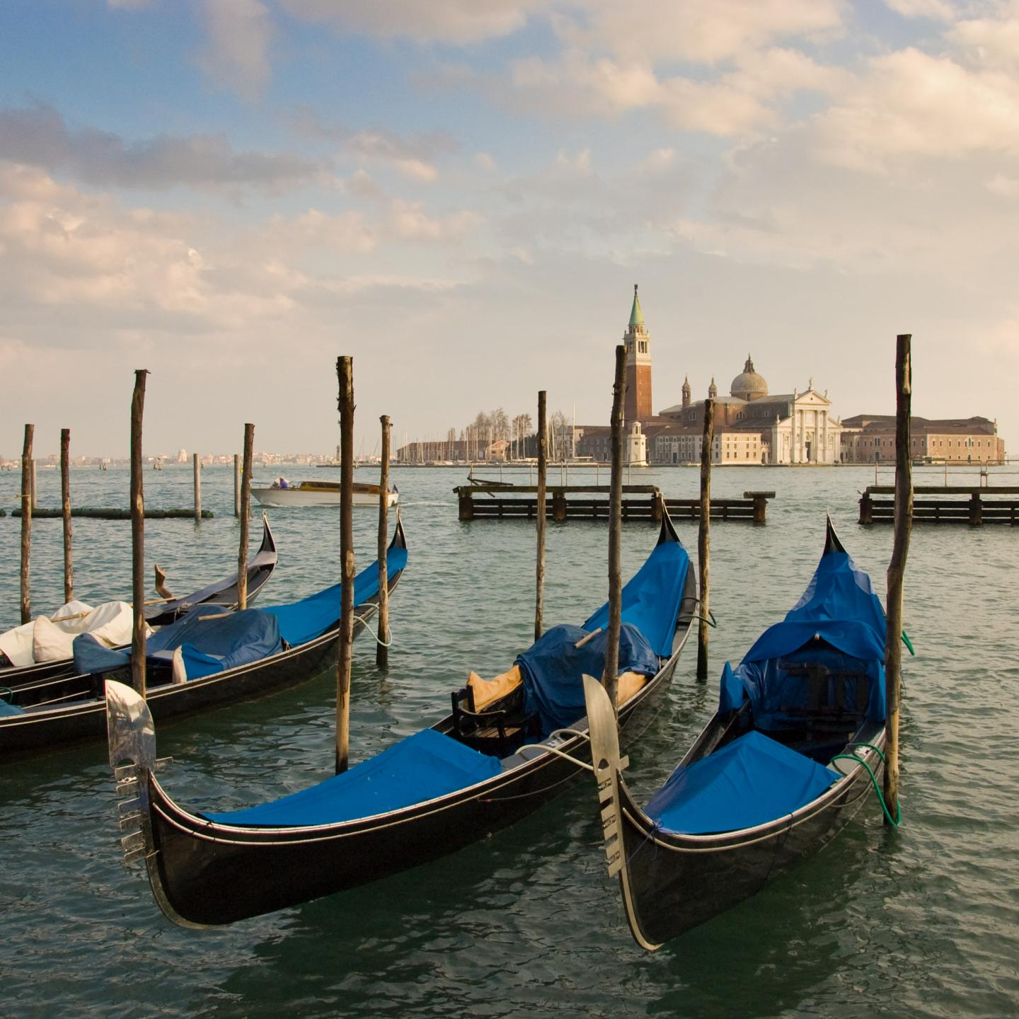Gondolas in Venice at sunset photographed by teens on summer travel photography tour