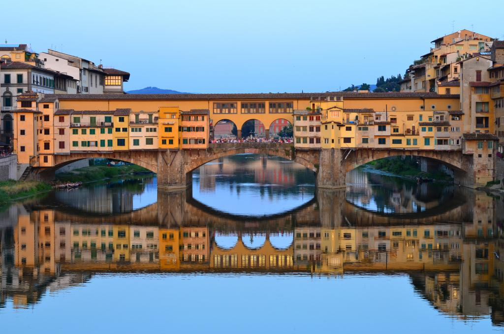Ponte Vecchio Florence at twilight photographed by teenagers on summer travel photography program