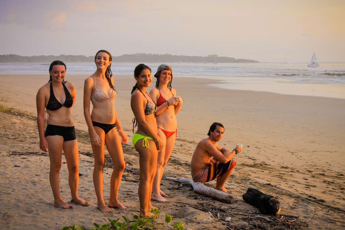 Teens enjoy the beach in Costa Rica on their summer language immersion program in Costa Rica.