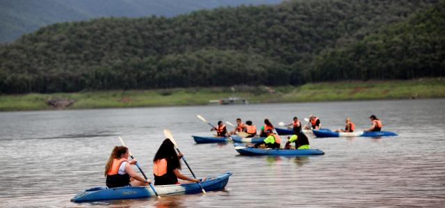 Students go kayaking in Alaska on summer adventure and service program for teens.