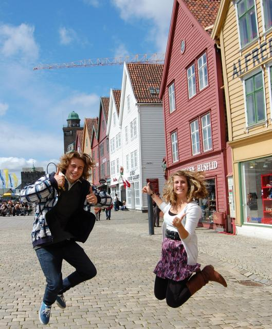 High school students enjoy Bergen on their summer teen tour to Norway