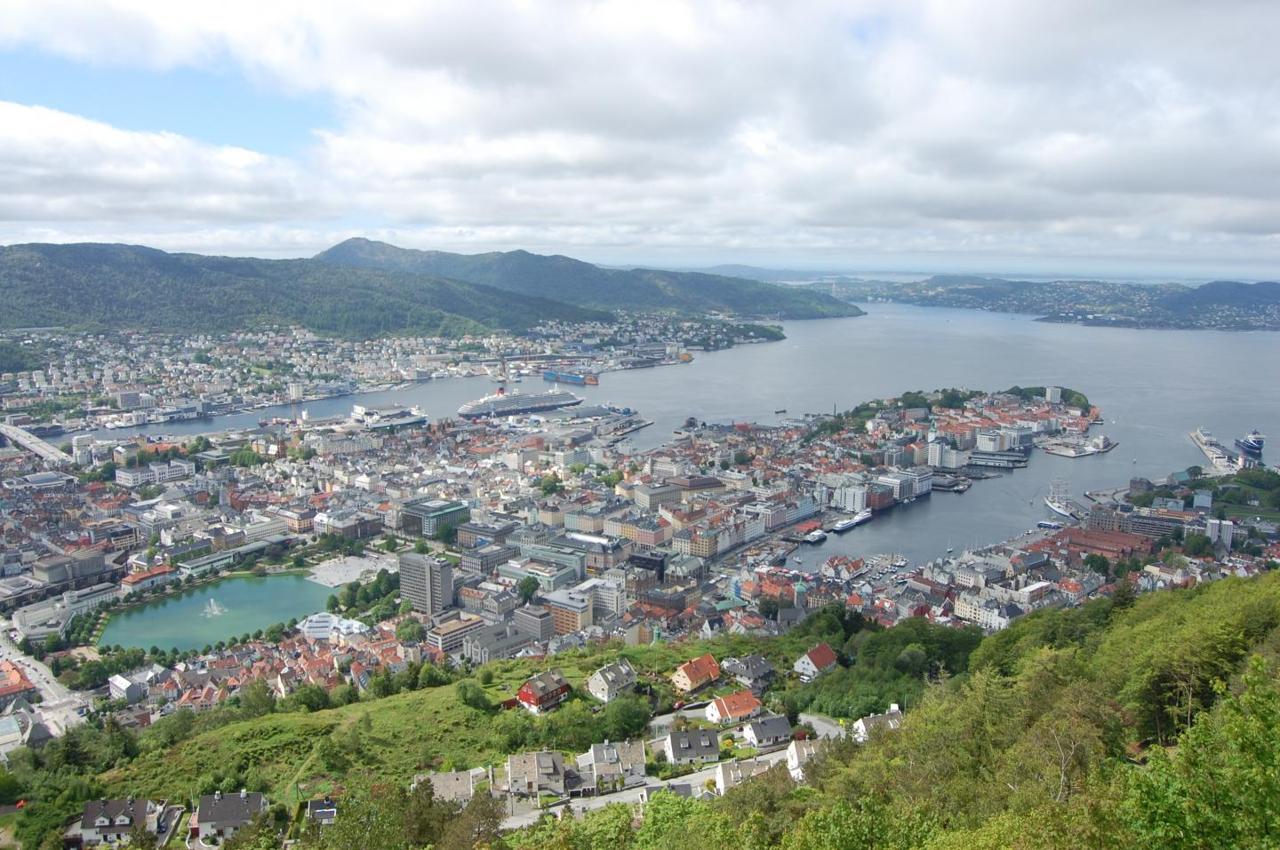 View of Bergen seen by teenage travelers during summer youth travel program in Scandinavia