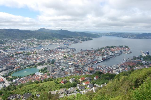 View of Bergen seen by teenage travelers during summer youth travel program in Scandinavia