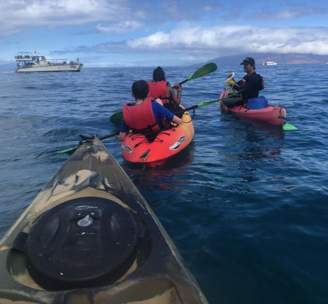 Teens go kayaking on their summer student tour in North America.