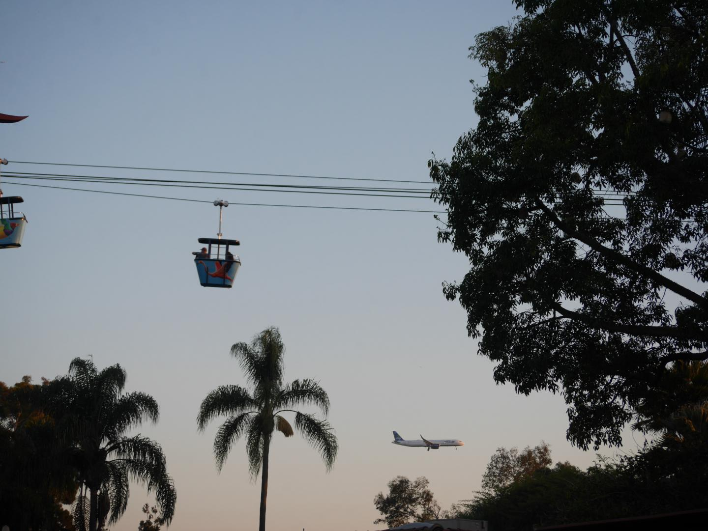 Teens ride the cable cars at the San Diego Zoo during their summer service program in California.