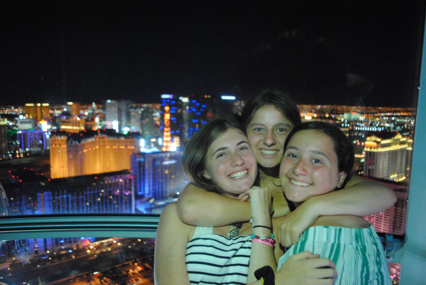 Students enjoy the views of Las Vegas lit up at night on their summer teen travel program.