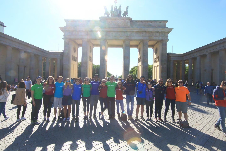 Travel For Teens group at Brandenburg Gate in Berlin during summer youth travel program