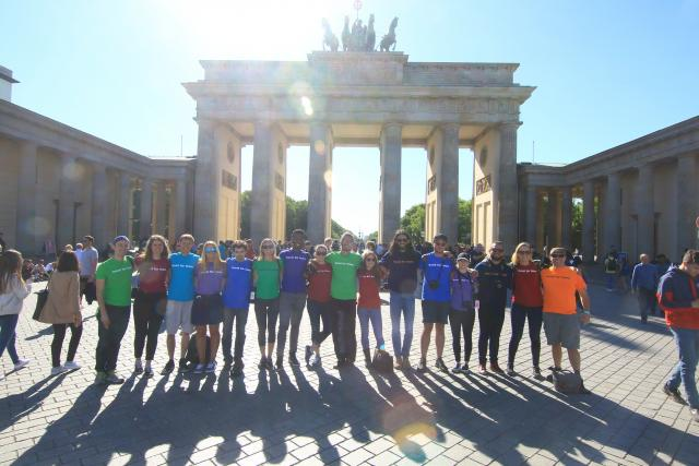 Travel For Teens group at Brandenburg Gate in Berlin during summer youth travel program