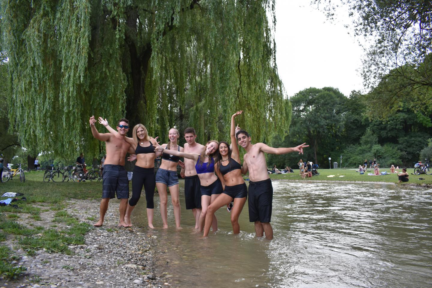 Teen travelers in Munich Englischer Garten during summer youth travel program