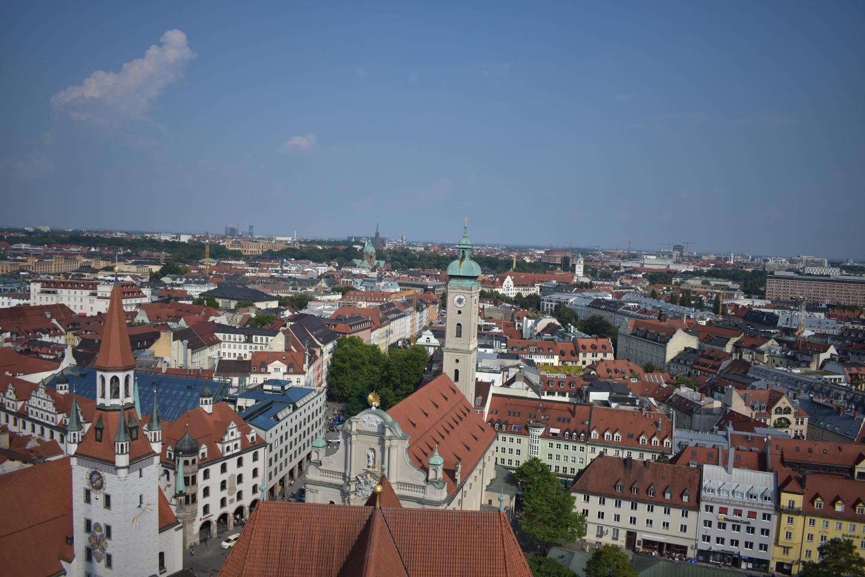 View of Munich from above seen on summer teen travel program