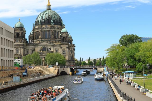 View of Berlin and Spree River seen on summer youth adventure travel program