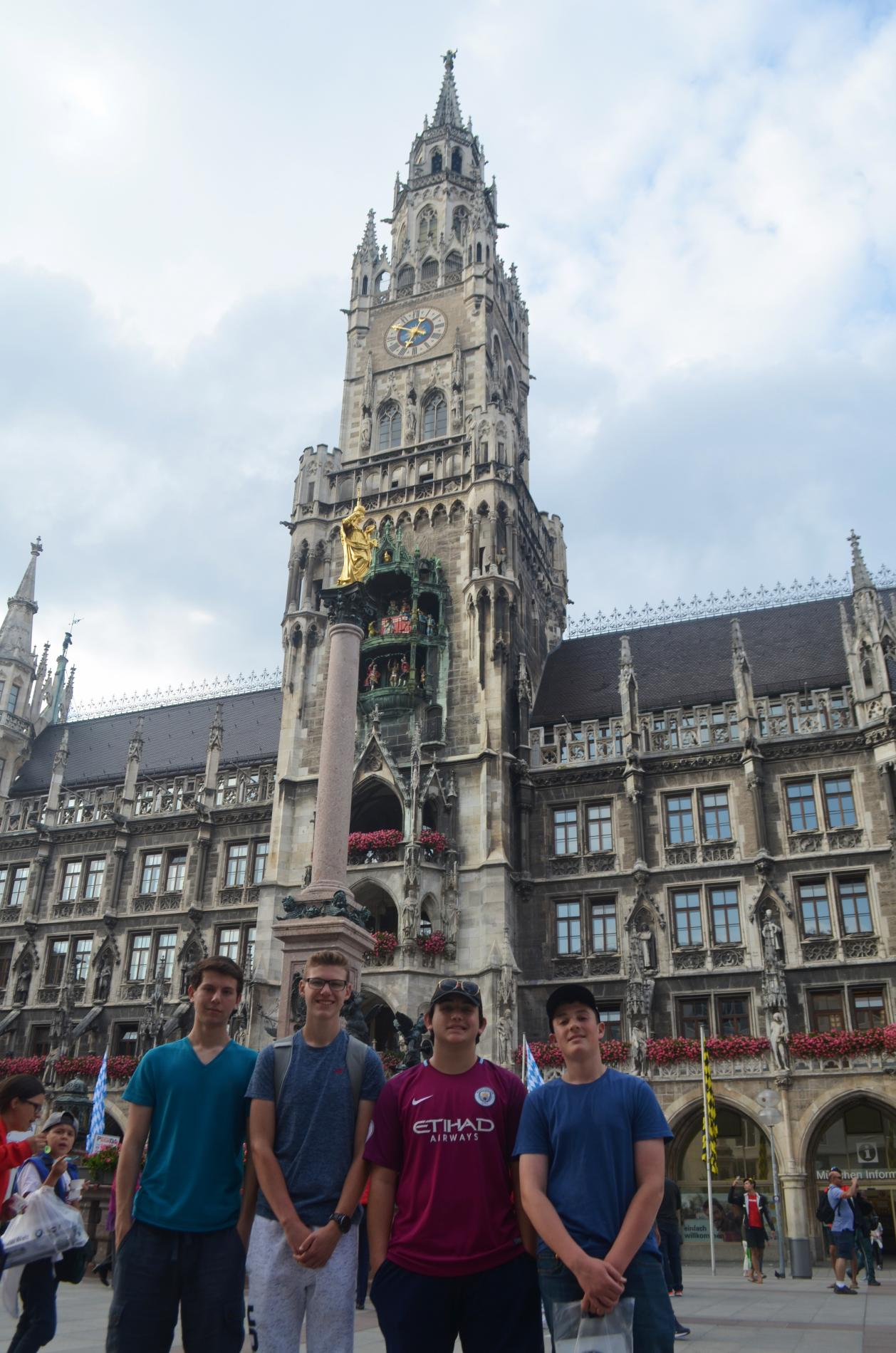 Teenage travelers in Marienplatz Munich during summer youth adventure travel program