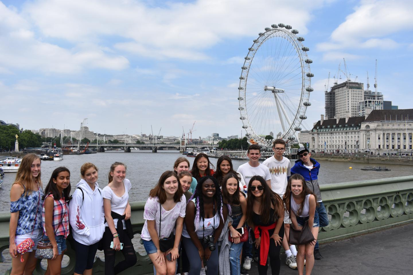 Happy teens at London Eye in England on summer youth travel trip