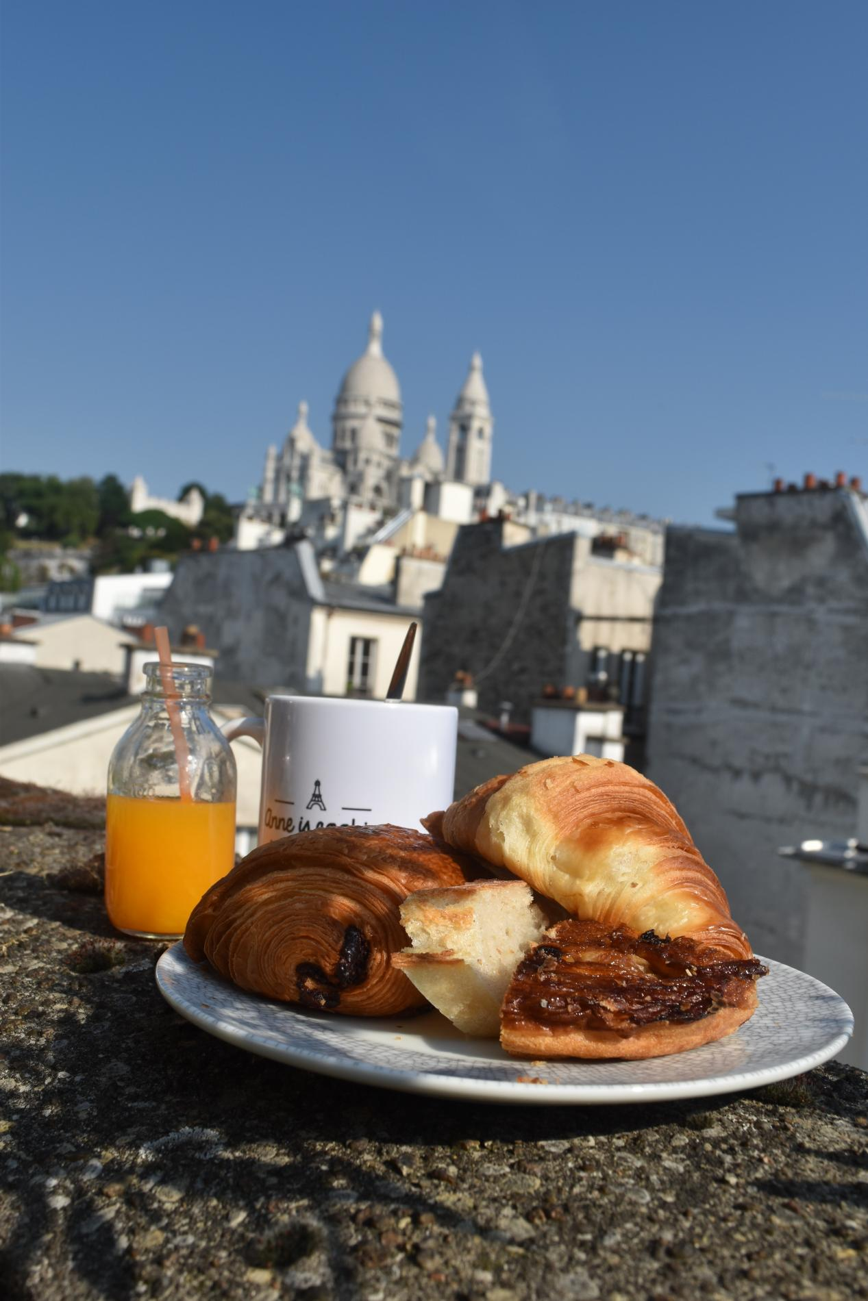 Typical French cuisine and view of Sacre Coeur Montmartre seen on teen travel program in Paris