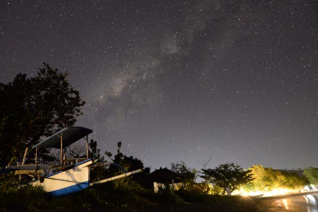 Starry night sky seen from Bali, Indonesia