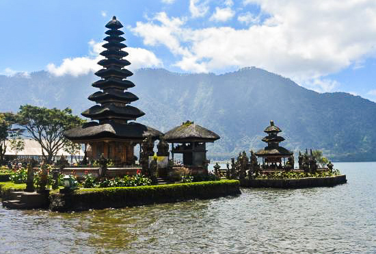 Traditional temples on a lake in Bali, Indonesia