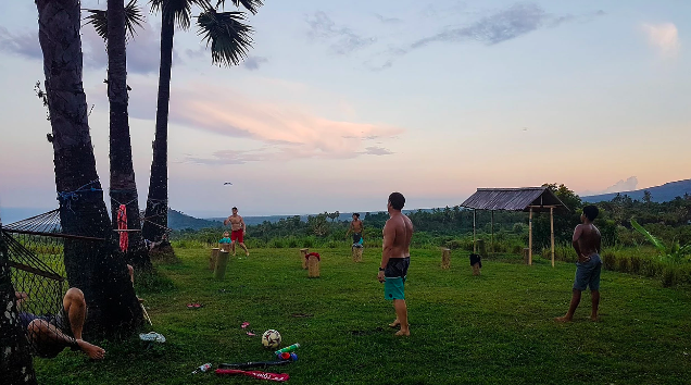 Teens play games at eco-camp in Bali, Indonesia