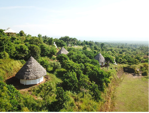 View of huts at an eco-camp in Bali, Indonesia