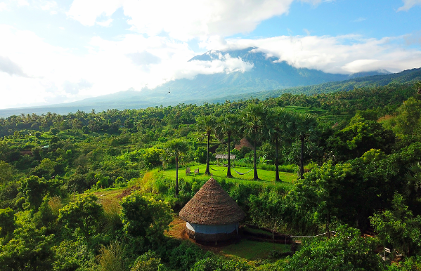 View of huts at eco-camp in the mountains of Bali, Indonesia