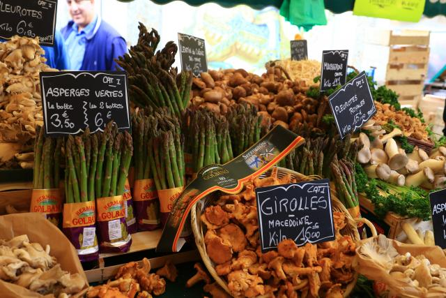 Farmers market produce in Paris, France