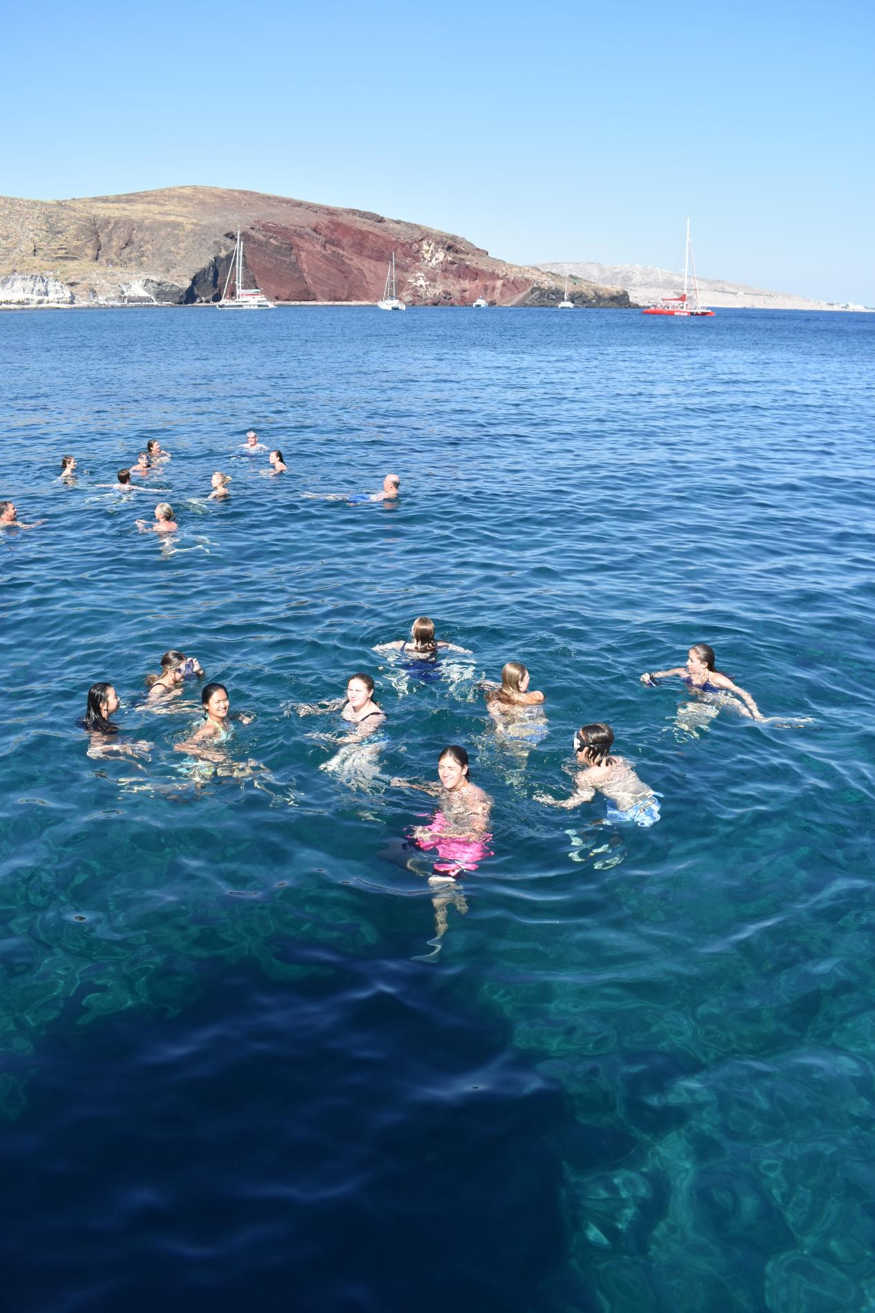 Swimming in the Mediterranean in Santorini