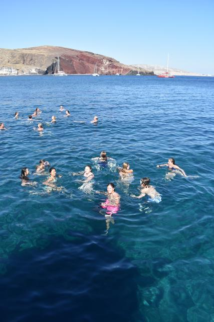 Swimming in the Mediterranean in Santorini