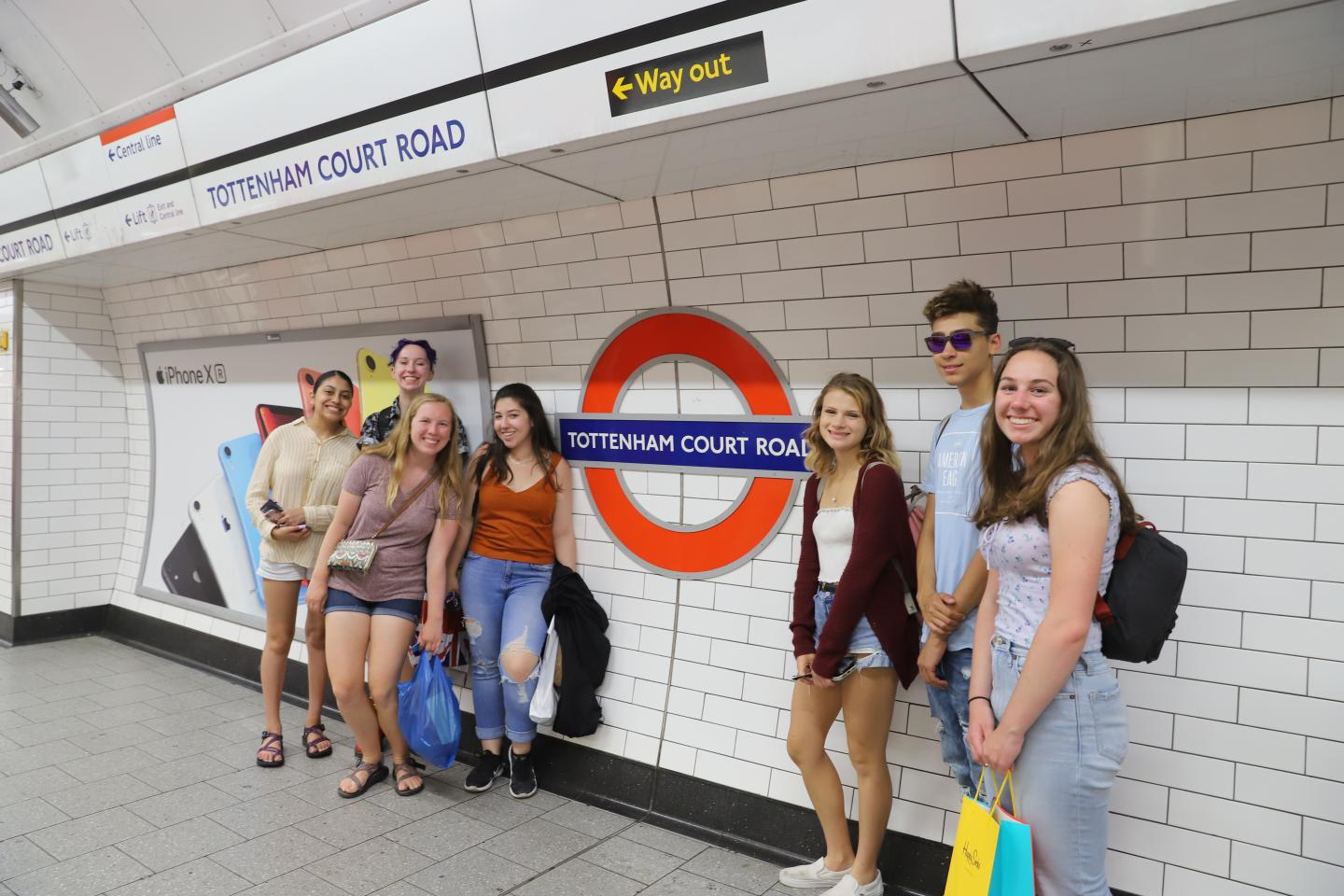 High school students in the tube
