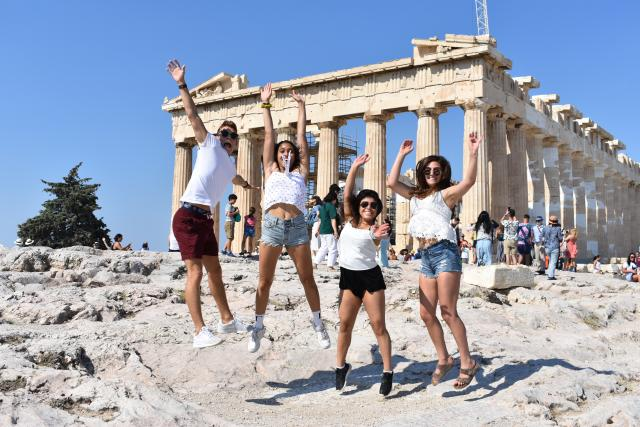 students visit the acropolis in greece
