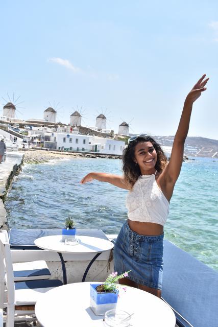 Teen girl in Mykonos Greece summer
