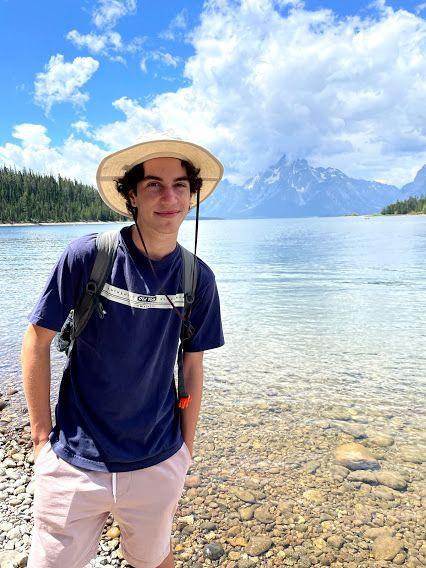USA Boy with Lake and Mtn