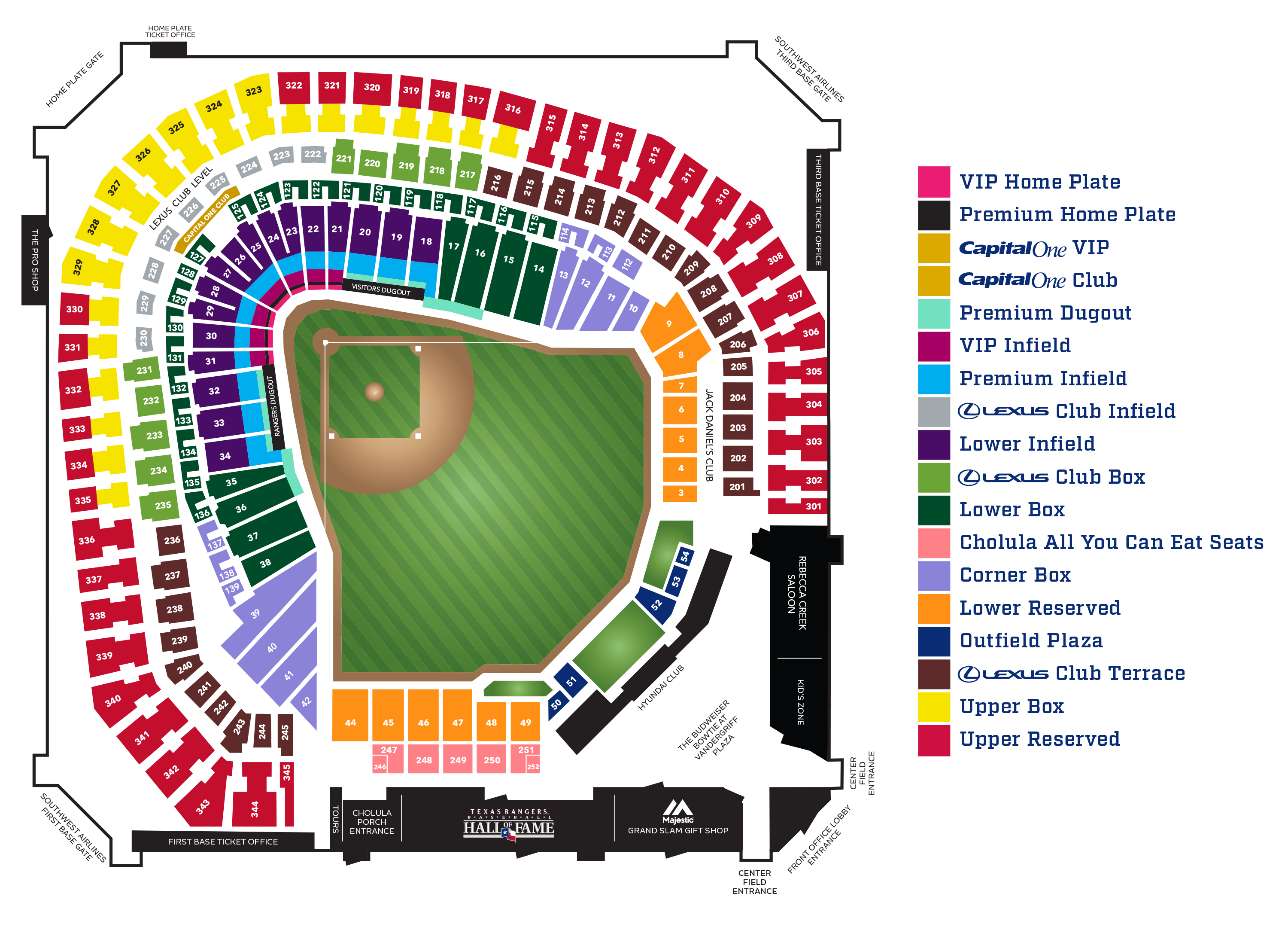Globe life seating chart globe life park seating chart for party