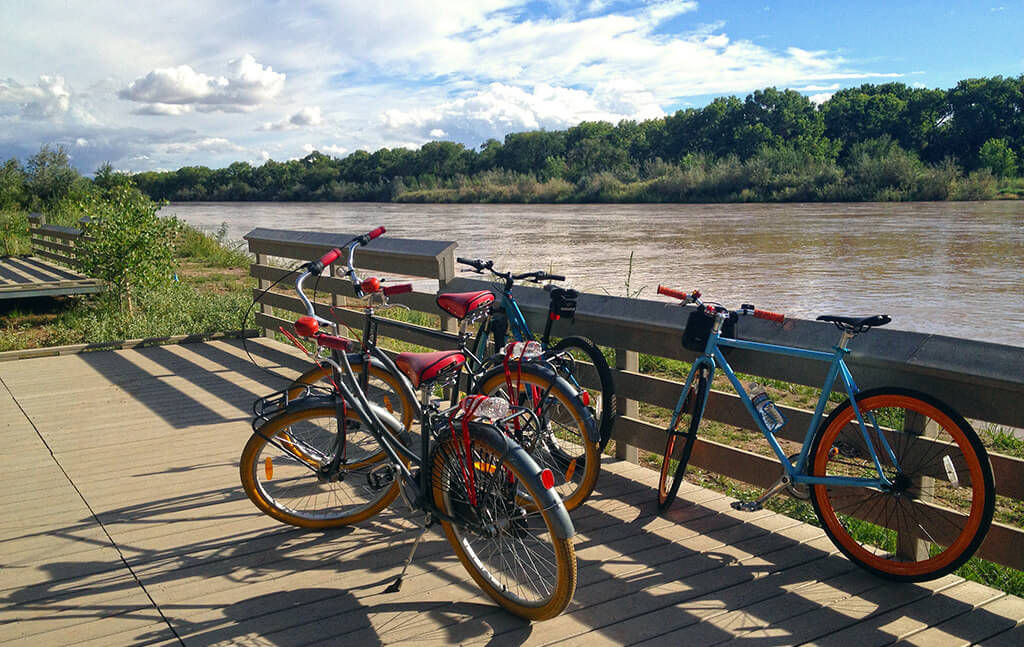 routes bicycle tours takes you on a scenic bike ride along the rio grande river.