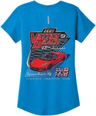 Ladies V-neck T-Shirt - Bolt Blue