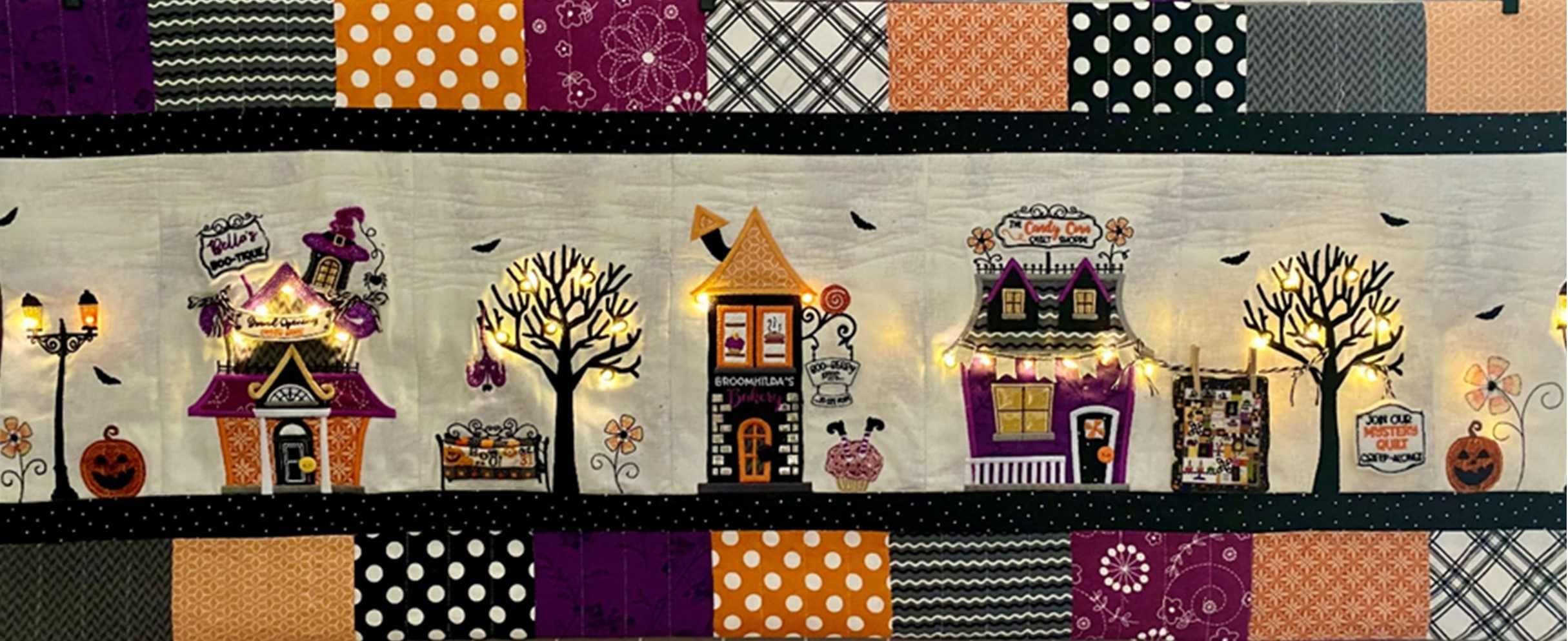 Kimberbell Twilight Boo-levard Embroidered Bench Pillow