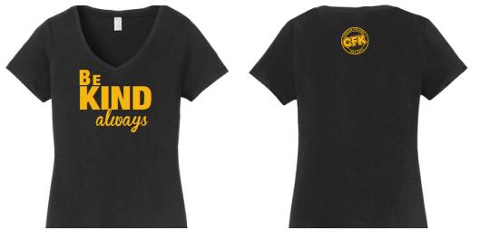 Black Short Sleeve V-Neck Be Kind T-Shirt