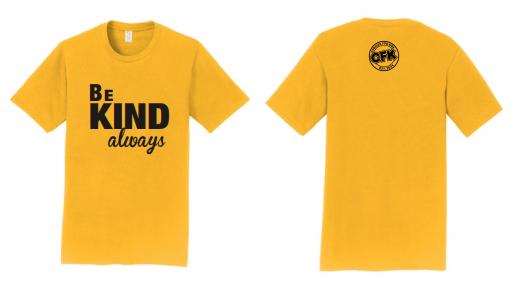 Gold Short Sleeve Crew Neck Be Kind T-Shirt