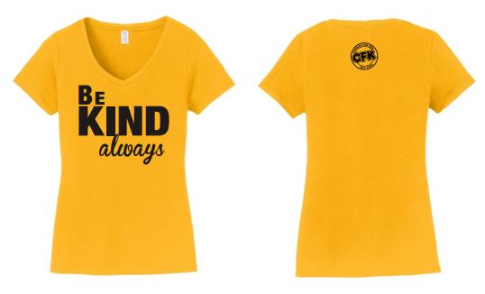 Gold Short Sleeve V-Neck Be Kind T-Shirt