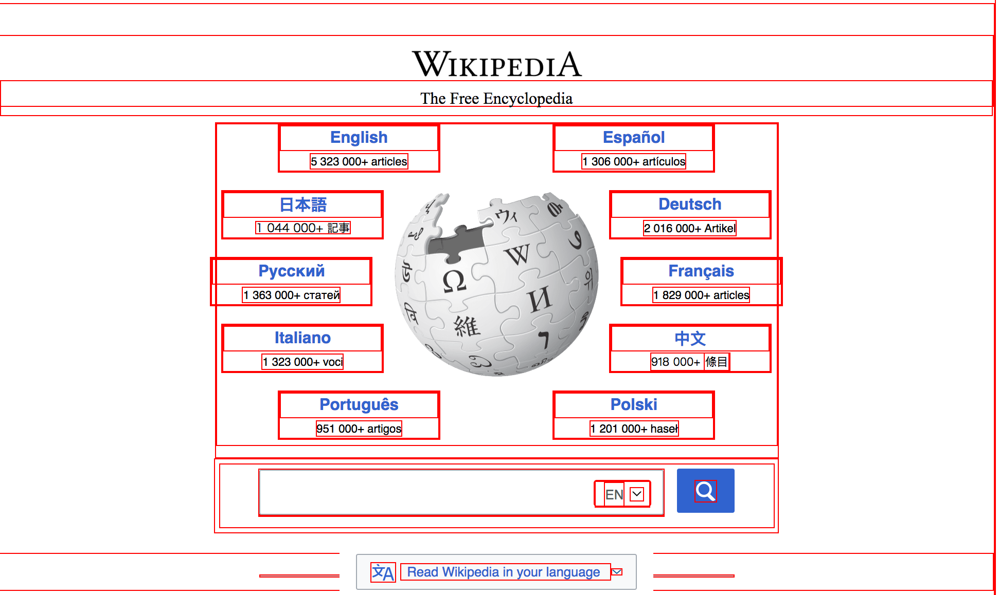 Wikipedia with rectangles