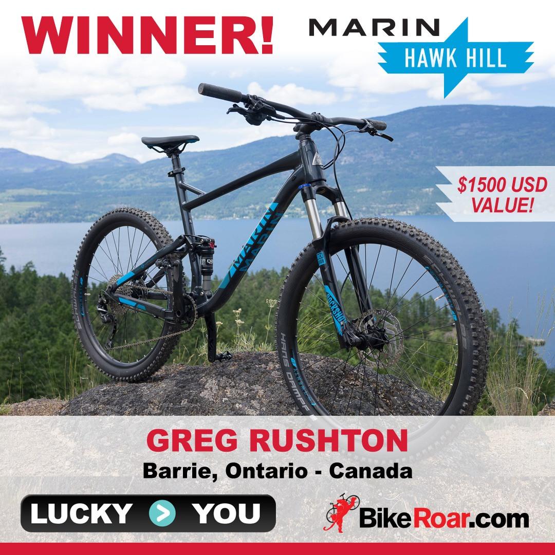Win a Marin Hawk Hill full-suspension trail mountain bike valued at $1500 USD!