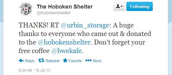 Twitter - hobokenshelter - THANKS