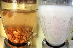 Almonds and water in blender