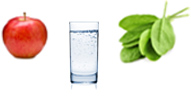 Fruits Green veggies 8 glasses of water